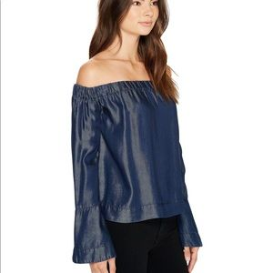 7 for all mankind bell sleeve top off the shoulder